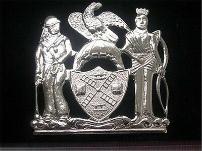 The United States New York Big Hat Badge Silver Emblem Insignia Pin Cosplay Prop