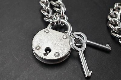 "Padlock Lock Pendant Charm 19.5""  Choker Necklace-Antique Silver - New"