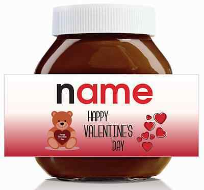 Nutella Labels! - 3 x Personalised 'Happy Valentines Day' Labels for 750g Jar!