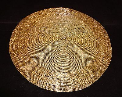 """Set Of 4 14"""" Round Gold Beaded Place Mats Made In India"""