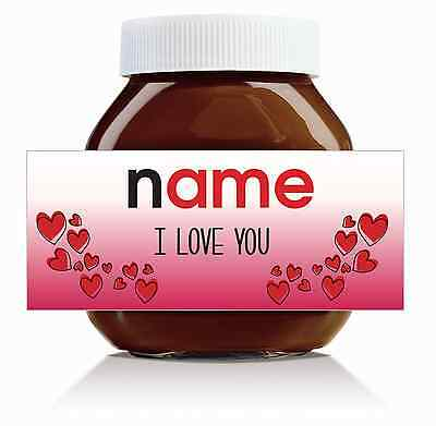 Nutella Labels! - 3 x Personalised 'I Love You' Labels for 750g Jar!