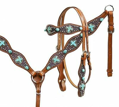 Showman Bridle & Breast collar Set W/ PINK Sting Ray Print & TURQUOISE Crosses!