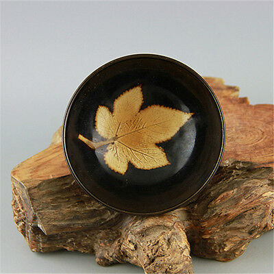 China antique Song dynasty Jizhou Kiln dark glazed bowl, nice Maple leaf bowl