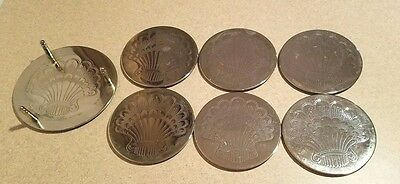 vintage etched round metal coasters (6) and holder silver seashell pattern