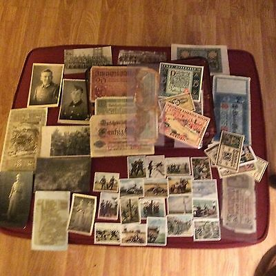 Huge German WWII lot mixed items, PostCards, Cig.Cards, Pictures, Currency, HUGE