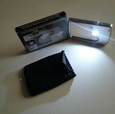 Silver Led Magnifier Loupe With light + Leather Case Magnifying Glass 88*57*9mm