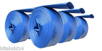 """50 M X 4.0"""" 100 Mm Id Lay Flat Hose Blue For Water Transfer Pumps/discharge"""