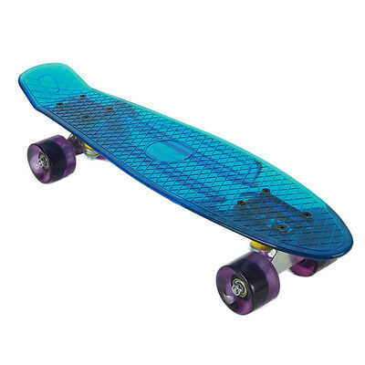 "Skateboard Transparent Blau Board bis 100kg 22"" Mini Cruiser Board Retro Flying"