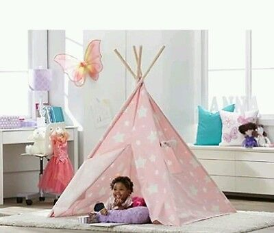 Turtle Play Kid's Pink Star Glow In The Dark Teepee
