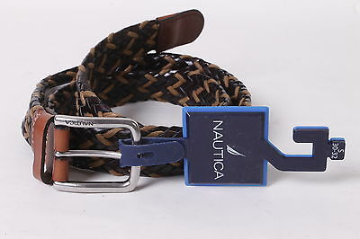 $40 Nautica Men's Leather/Canvas Braided Dress Belt 30-32 Brown NEW