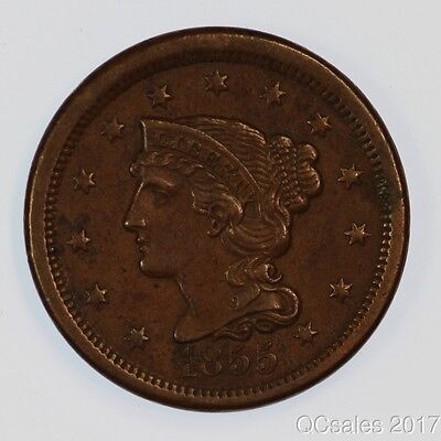 1855 Upright 5's Braided Hair Cent