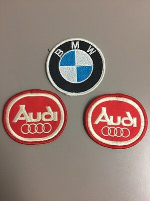 2 Red Audi Patches and 1 BMW Patch Racing Vintage 80s