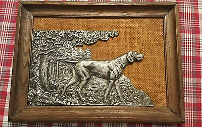 VINTAGE PEWTER German Shorthaired pointer dog plaque sculpture  in picture frame