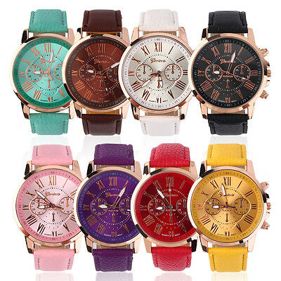 Womens Geneva Leather Quartz Analog Wrist Watch Band Stainless Steel FashionLY