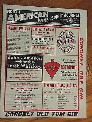 1909 pre pro NORTH AMERICAN WINE & SPIRIT JOURNAL NEW ENGLAND BEER BREWERY WHISK