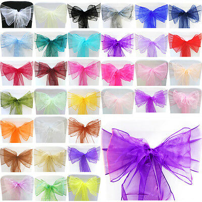 100 Organza Sashes Chair Bows Covers Wedding Party Decoration Bows Dark Purple