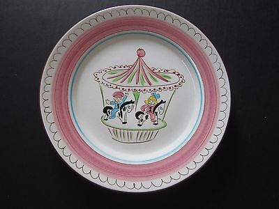 """Stangl Pottery Kiddieware Patterns Pink  Carousel 9""""Plate (5020)  Childs Plate"""
