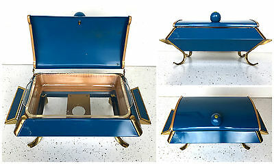 Vintage Mid-Century Chafing Dish Buffet Serving Tray Blue Green Gold Glass Dish