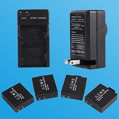 4pcs 900mAh Li-ion Battery + Dual Charger for SJ4000 SJ5000 SJ6000 Camera Set