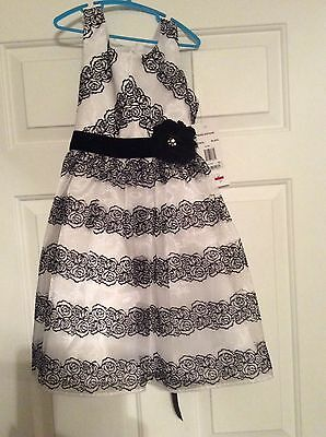 NWT BLACK & WHITE FLOCKED Roses Girls  Sz 8 Holiday Party Dress