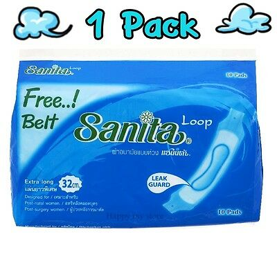 """1X10 PADS FREE BELT SANITARY TOWELS PACK LOOPED EXTRA LONG 12"""" or 32cm HOSPITAL#"""