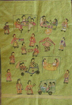 "Bihar India Embroidery/Day in Women's Lives/34"" x 23"""