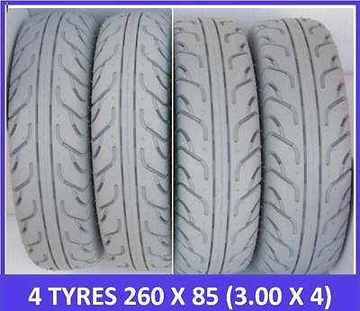 "4 Tyre Pack Special. 4 Mobility Scooter Tyres 260 x 85 (3.00 x 4"") Grey FREEPOST"