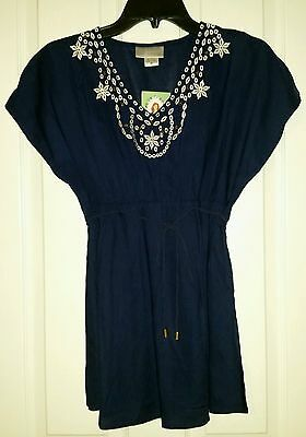 Oh Mamma maternity Navy Blue size  Medium  top  Cap Sleeve  blouse NWT Pullover