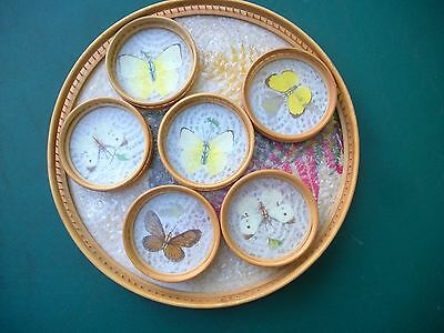 1950's Rattan Butterfly Serving Tray w/ Six Coasters -Real Butterflies