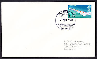 GB QEII Concorde stamp on 1969 first flight 002 cover Filton Bristol postmark