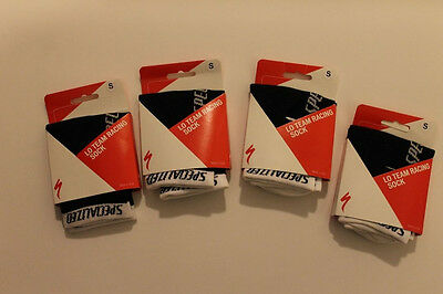 New Specialized Lo Team Racing Small Cycling Socks Euro 36-39 White NWT 4 Pairs
