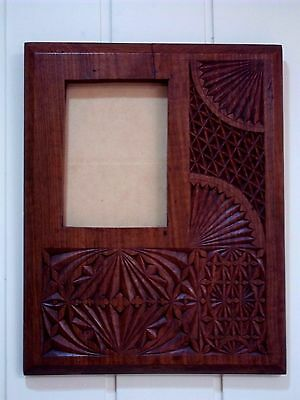 Large Hardwood Chip Carved Picture Frame , circa early 1900's