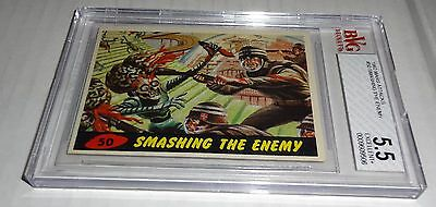 1962 Mars Attacks Smashing the Enemy Card # 50 BVG 5.5 Excellent+ Like PSA