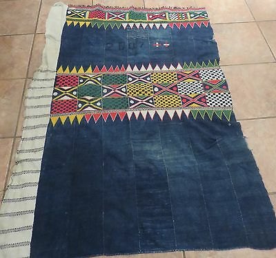 Vintage Dogon,Mali Wedding Skirt/Indigo Strips, Colorful, Intricate Embroidery