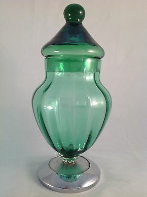 AUTHENTIC VINTAGE Retro GREEN ART GLASS Metal Base APOTHECARY CANDY JAR