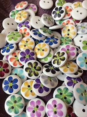 100 pcs Wood Mixed 2 Hole Wooden Round Flower Sewing Craft Buttons 15mm