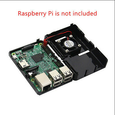 Black ABS Case Enclosure Box with Cooling Fan + Heat Sink Kit for Raspberry Pi 3