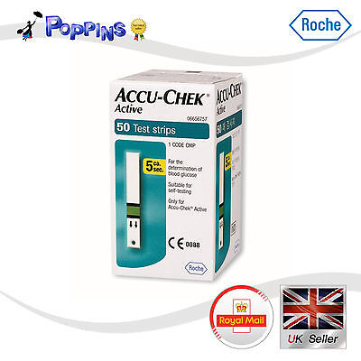New Genuine Roche Brand ACCU CHEK Active 50 Test Strips 1 Box Sealed