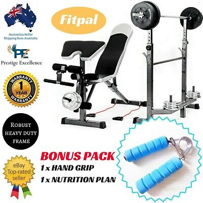 Multi Station Weight Bench Press Equipment Set Home Gym Leg Exercise Fitness New
