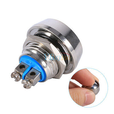 Silver 12mm Momentary Toggle Dome Top Waterproof Metal Push Button On/Off Switch