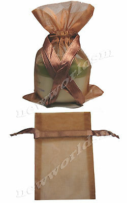 "6pcs 12x17cm 5""x7"" Copper Premium Organza Holiday Gift Bags Pouches FREE PP"