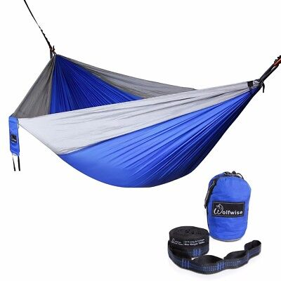 Double Camping Hammock Outdoor Swing Bed with Tree Straps Nylon Blue