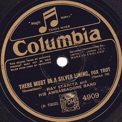 """78er British Dance Band 20er Jahre Ray Starita """"There Must Be A Silver Lining"""""""