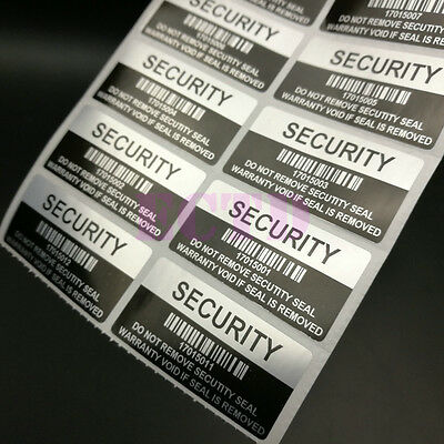 200x SECURITY SEAL, TAMPER EVIDENT, Warranty void stickers  barcode.
