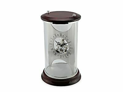 Glass Skeleton Clock with Red Mahogany Top and Base SKC18 New