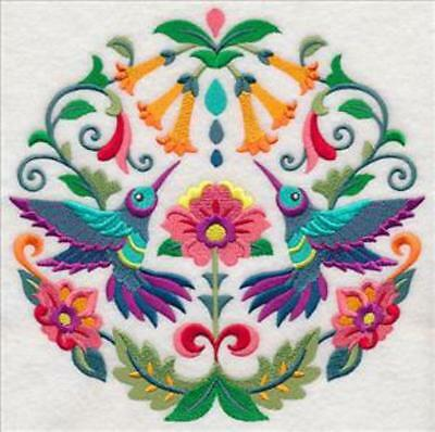 Embroidered Quilt Block or Cushion Panel 'Sweet Hummingbird'' 100% Cotton Fabric