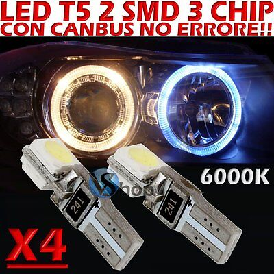 4 LED T5 SMD BIANCO 6000K CANBUS per Fari ANGEL EYES DEPO FK WHITE no error