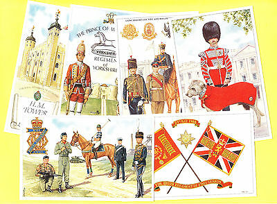 Set of 6 Modern 1990s Postcards Regiments Fusiliers Irish Guards Mascot Hussars