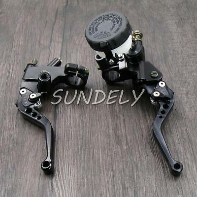 UK Motorcycle Universal Black Clutch Brake Levers Master Cylinder Reservoir 7/8""