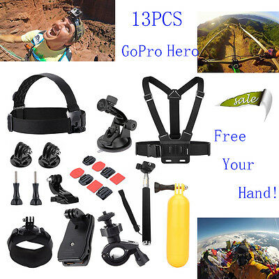 13 in 1 Accessories Set for GoPro Hero Kit Pack Bag Head Chest Strap Pole Camera